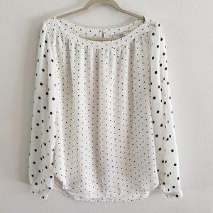 Loft Cream White Polka Dot Long Sleeve Blouse L
